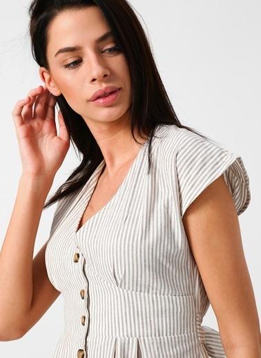Fabrika Önden Düğmeli Çizgili Elbise Bej